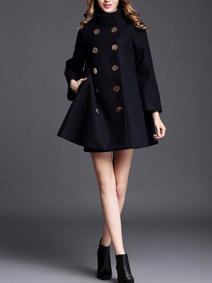 Navy Blue Shift Shawl Collar Buttoned Pockets Coat_5