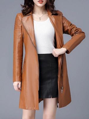 Solid Shift Long Sleeve Pleated Pockets Zipper Lapel Coat_2