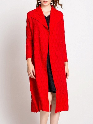 Long Sleeve Slit Casual Solid Shawl Collar Embossed Shift Coat_9