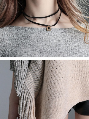 Fringed Batwing Casual Wool Sweater_8