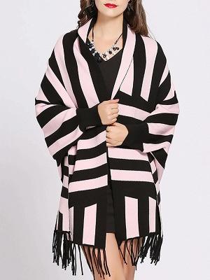 Striped Fringed Shift Long Sleeve Elegant Sweater_1