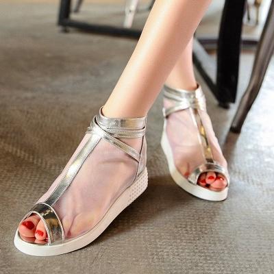 Zipper Daily Peep Toe Wedge Heel Elegant Boots_2