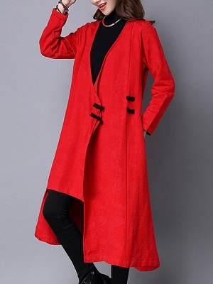 Linen Sleeveless A-line Casual Jacquard Coat_8