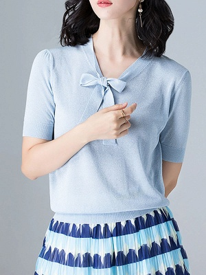 Tie-neck Knitted Casual Short Sleeve Bow Polyester Sweaters_5