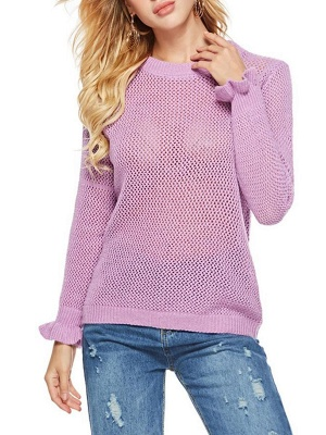 Pink Shift Frill Sleeve Casual Crew Neck Solid Sweater_6