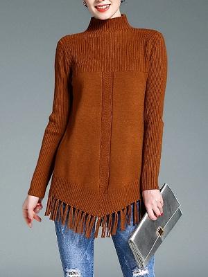 Turtleneck Long Sleeve Elegant Solid Fringed Sweater_1