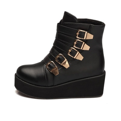 Women's Boots Black Round Toe Wedge Heel Boots_9