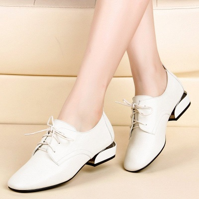 Chunky Heel Lace-up Pointed Toe Oxfords_1