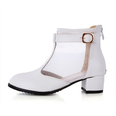 Buckle Pointed Toe Chunky Heel Elegant Boots_5