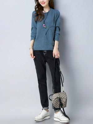Long Sleeve Knitted Plain Casual Crew Neck Sweater_10