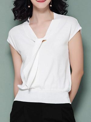 Tie-neck Ice Yarn Knit Elegant Short Sleeve Shift Knitted Sweater_1