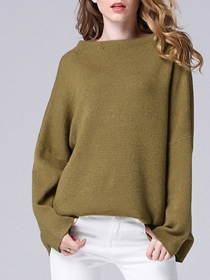 Olive Green Slash Neck Knitted Long Sleeve Sweaters_1