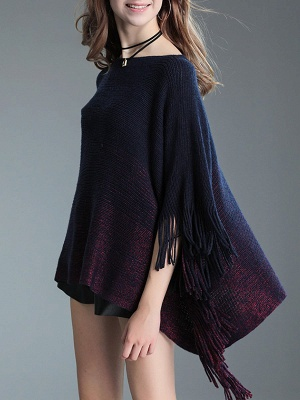 Fringed Batwing Casual Wool Sweater_6