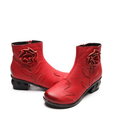 Chunky Heel Leather Flower Round Toe Boots_1