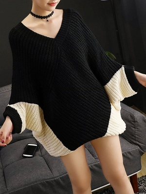 Knitted Batwing Shift Casual Solid Knit Top_1