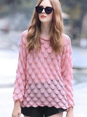 Pink Long Sleeve Geometric Paneled Shift Sweater_5