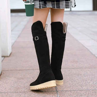 Suede Daily Wedge Heel Buckle Casual Boot_7