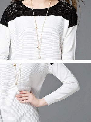 White Cotton Solid Long Sleeve Sweater_5