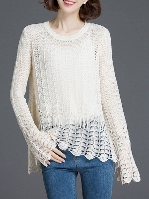 Crocheted Daily Casual Knitted Shift Sweater_1