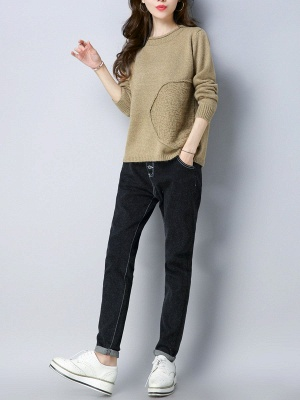 Long Sleeve Knitted Plain Casual Crew Neck Sweater_9
