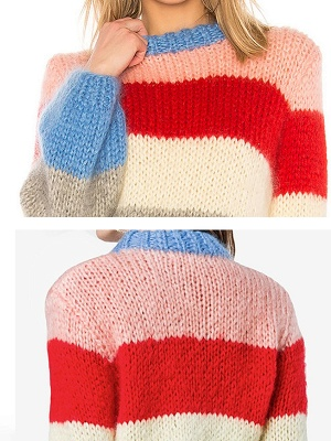 Multicolor Shift Crew Neck Casual Sweater_5