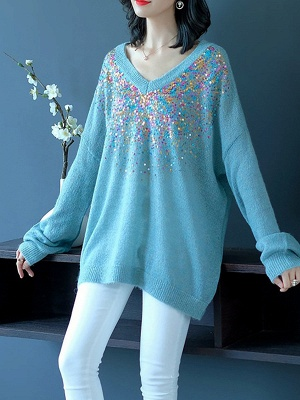 Blue V neck Long Sleeve Shift Casual Sweater_4