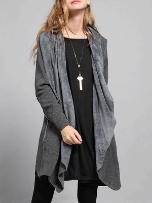 Shawl Collar Asymmetric Solid Casual Long Sleeve Coat_9