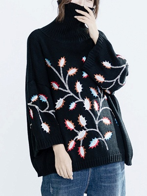 Black Casual Shift Embroidered Sweater_6