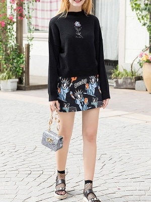 Black Crew Neck Embroidered Floral Casual Sweater_4
