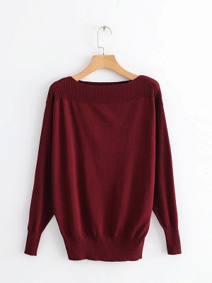 Casual Shift Long Sleeve Crew Neck Paneled Sweater_3