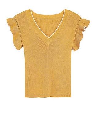 Ice Yarn Knitted V neck Elegant Frill Sleeve Ruffled Sweater_1