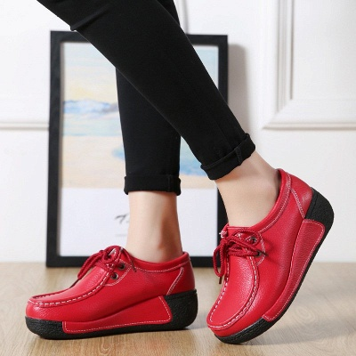 Wedge Heel Daily Lace-up Round Toe Loafers_2