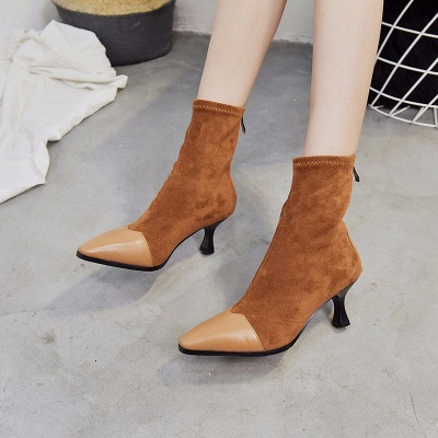 Zipper Cone Heel Daily Pointed Toe Elegant Boots_1