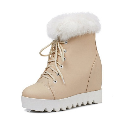 Lace-up Daily Wedge Heel Round Toe Fur PU Boot_9