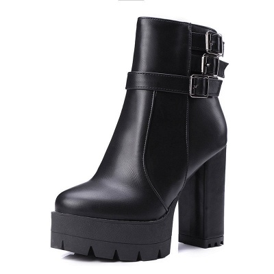 Daily Chunky Heel Zipper Round Toe Buckle Boots_11