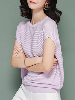 Elegant Ice Yarn Knit Short Sleeve Shift Knitted Solid Sweater_9