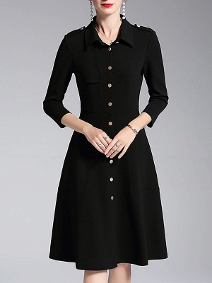 A-line Shirt Collar Buttoned Casual Long Sleeve Paneled Solid Coat_1