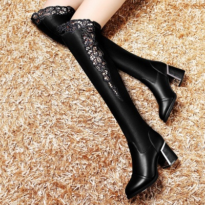 Chunky Heel Hollow-out Daily Pointed Toe Elegant Boots_3
