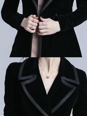 Black Lapel Paneled Buttoned Pockets Velvet Coat_6