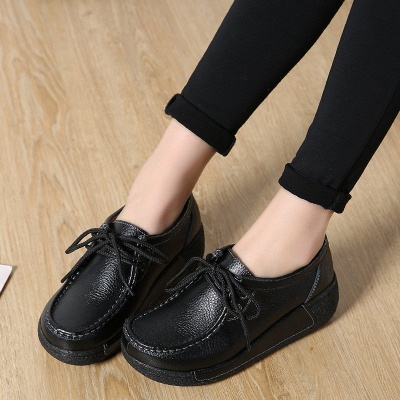 Wedge Heel Daily Lace-up Round Toe Loafers_5