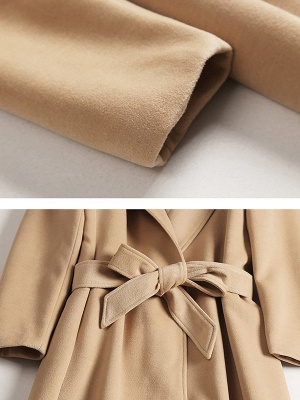 Camel Solid Work Wool Lapel Slit Shift Coat_5