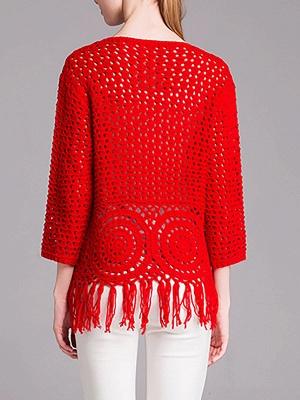 Red Geometric Shift Long Sleeve Sweater_3