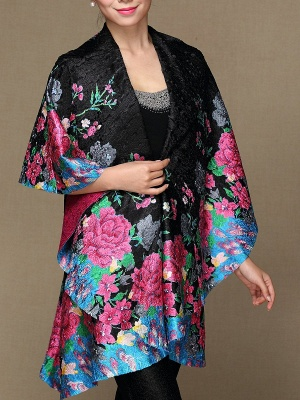 Black Long Sleeve Floral Casual Floral-print Crinkled Coat_7