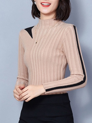 Solid Stand Collar Long Sleeve Casual Sheath Sweater_3