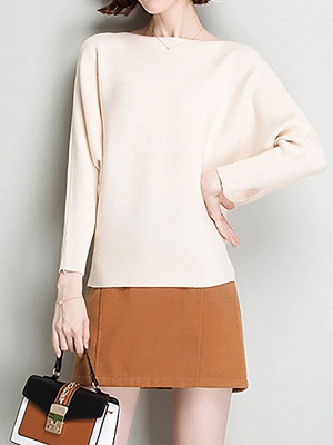 Casual Batwing Fringed Sweater_1