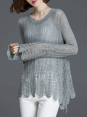 Crocheted Daily Casual Knitted Shift Sweater_9