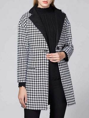 Black Shift Long Sleeve Buttoned Coat_1