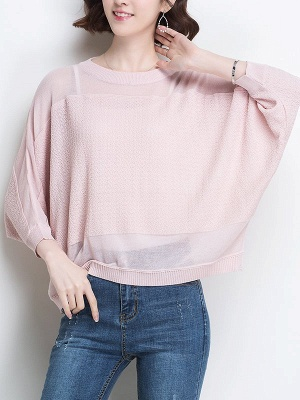 Casual Crew Neck Batwing Ice Yarn Knitted Shift Sweater_2