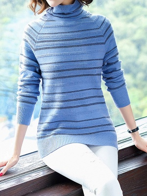 Striped Casual Long Sleeve Printed Sweater_2