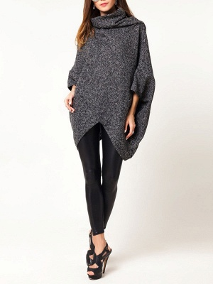 Casual Batwing Solid Sweater_2